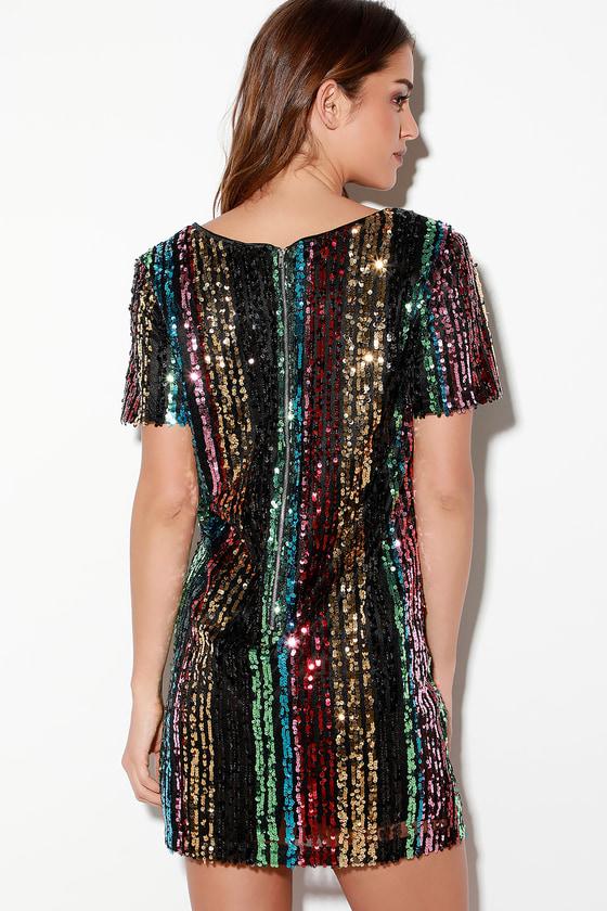 dd7bc85939b5be Cool Sequin Dress - Rainbow Sequin Dress - Sequin Shift Dress
