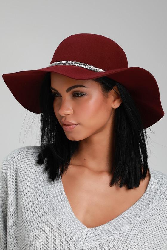 Cute Burgundy Hat - Floppy Hat - Sun Hat - Beaded Hat 6a9a42e32b51