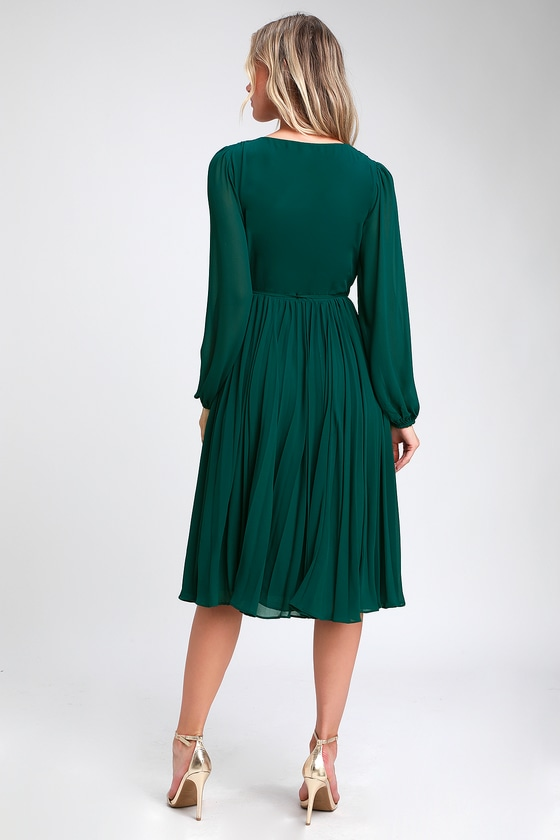 facf8b97b743 Pretty Dark Green Dress - Midi Wrap Dress - Pleated Midi Dress