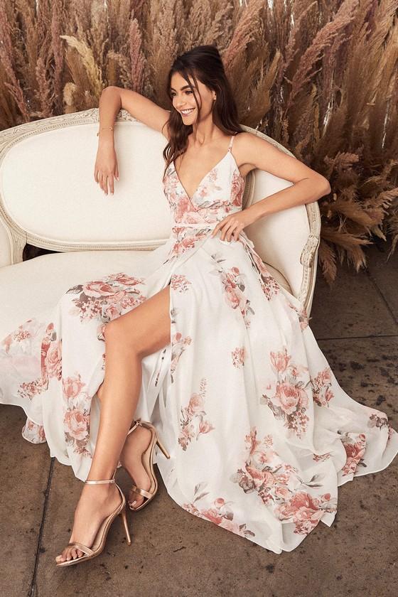 3db5626a34c6 Lovely Cream Floral Print Dress - Wrap Dress - Maxi Dress