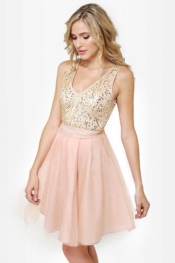 Pretty Blush Dress - Tulle Dress - Sequin Dress