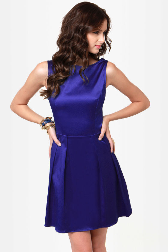 Pretty Blue Dress - Satin Dress - Skater Dress - $37.50