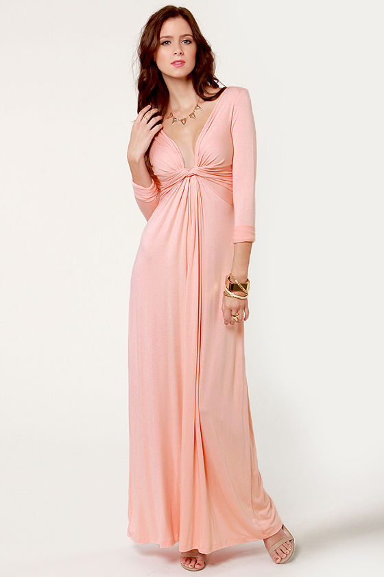 Cute Pink Dress - Maxi Dress - Long Sleeve Dress - $40.00