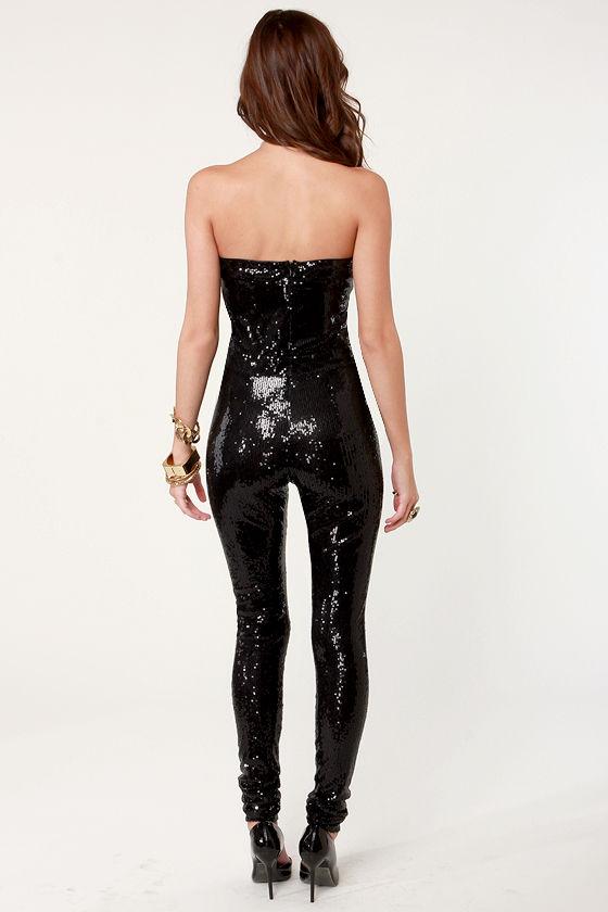 Sexy Black Jumpsuit Sequin Jumpsuit Strapless Jumpsuit