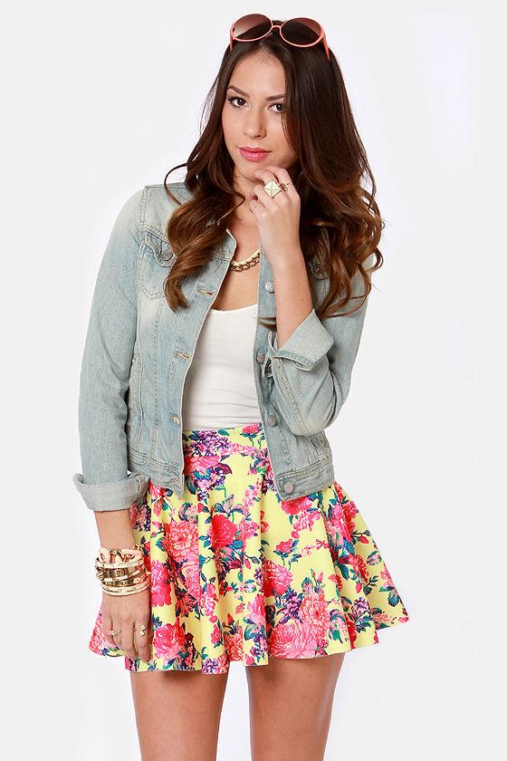 Bright Yellow Skirt - Skater Skirt - Neon Skirt - Floral Print Skirt ...