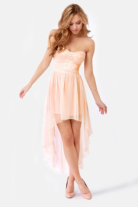Lovely Strapless Dress - Peach Dress - Lace Dress - High-Low Dress ...