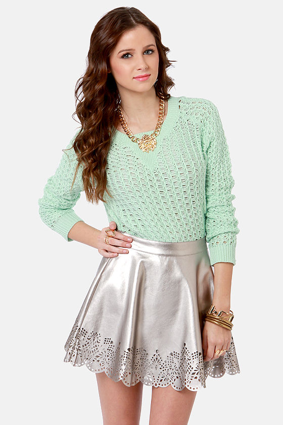 a1242758a6 ... cheap for discount 1f8dd c2272 Cut in the Act Laser-Cut Silver Skirt ...