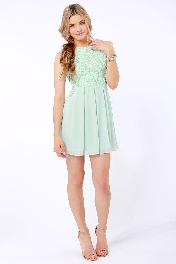 TFNC Sarah Dress - Mint Green Dress - Lace Dress - $90.00