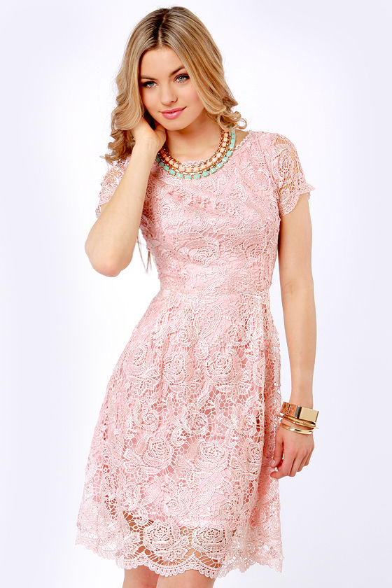 Genteel Breeze Backless Blush Pink Lace Dress 70