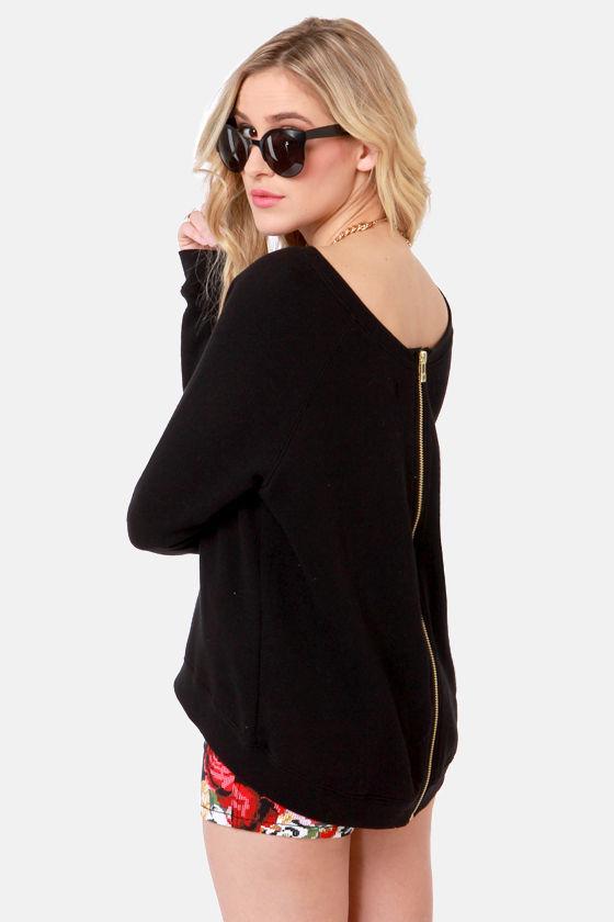 obey lexington sweatshirt zipper back sweater black sweater 72 00