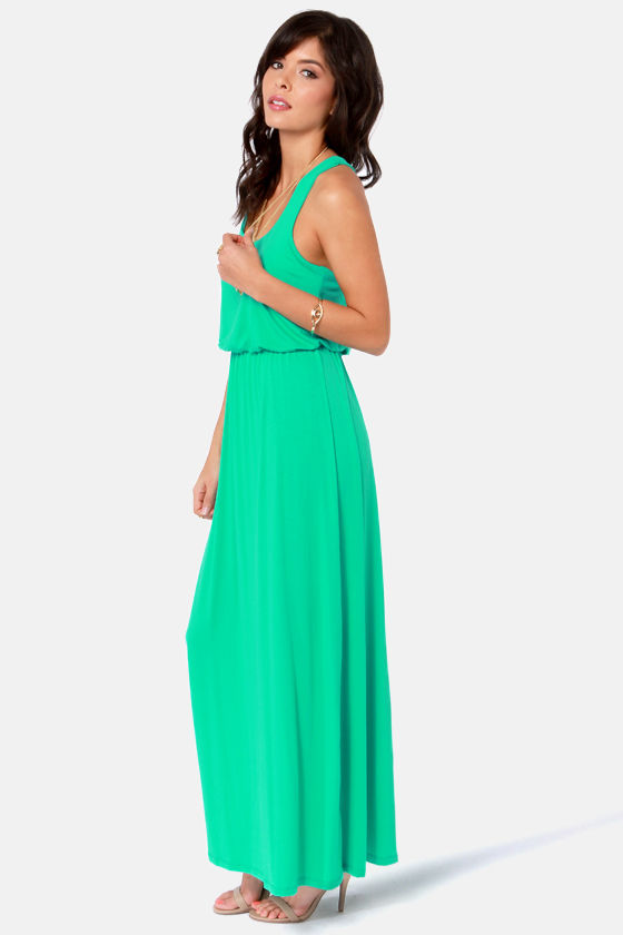 Cute Sea Green Dress - Maxi Dress - Racerback Dress - $39.00