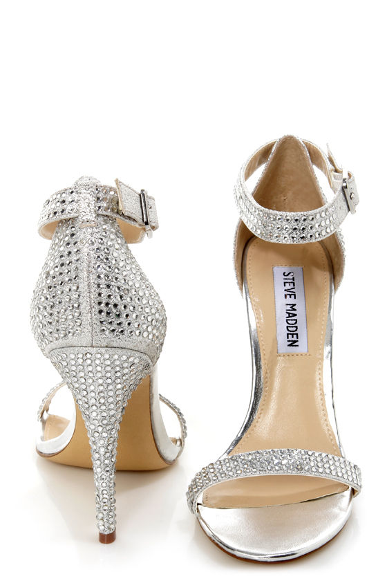 Steve Madden Realov-r Silver Rhinestone Dress Sandals - $99.00
