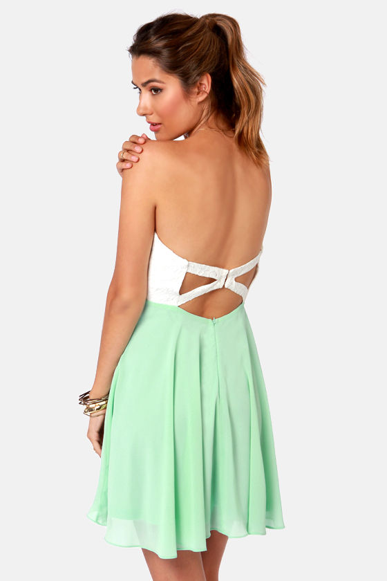 Pretty Ivory And Mint Dress Strapless Dress Lace Dress 5900
