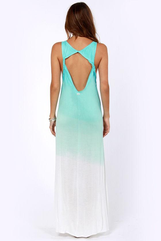 Rvca Dahomey Dress Aqua Blue Dress Maxi Dress 42 00