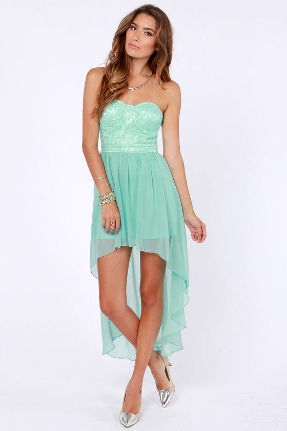 Lovely Strapless Dress - Mint Green Dress - Lace Dress - High-Low ...