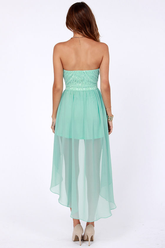 Lovely Strapless Dress - Mint Green Dress - Lace Dress - High-Low ...