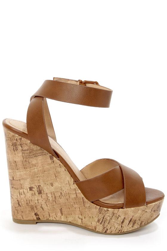 City Classified Olio Tan Platform Wedge Sandals 27 00