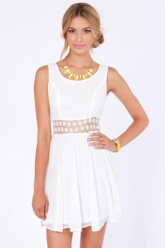 Cute Ivory Dress Cutout Dress Skater Dress 41 00