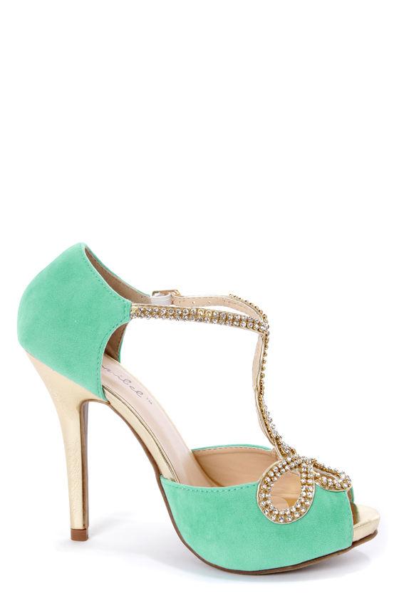 Tiara 1 Mint and Gold Rhinestone T-Strap High Heels - $40.00