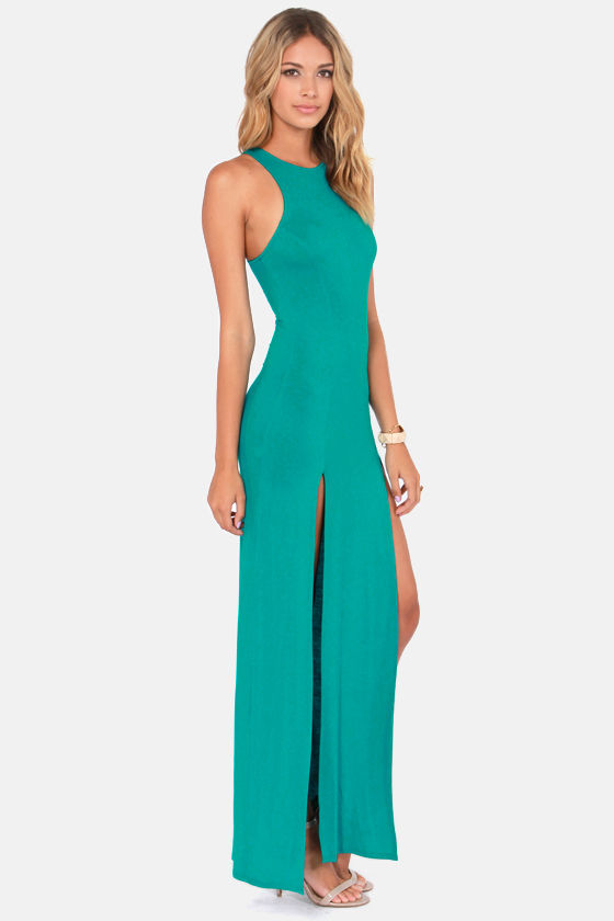 Cute Teal Dress - Maxi Dress - Racerback Dress - $41.00