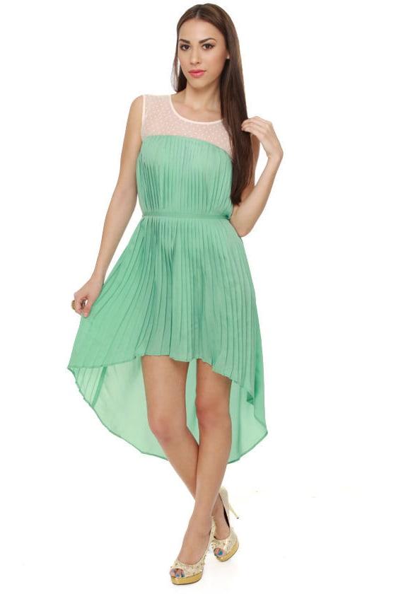 Cute Mint Green Dress - Pleated Dress - Pastel Dress - $67.00