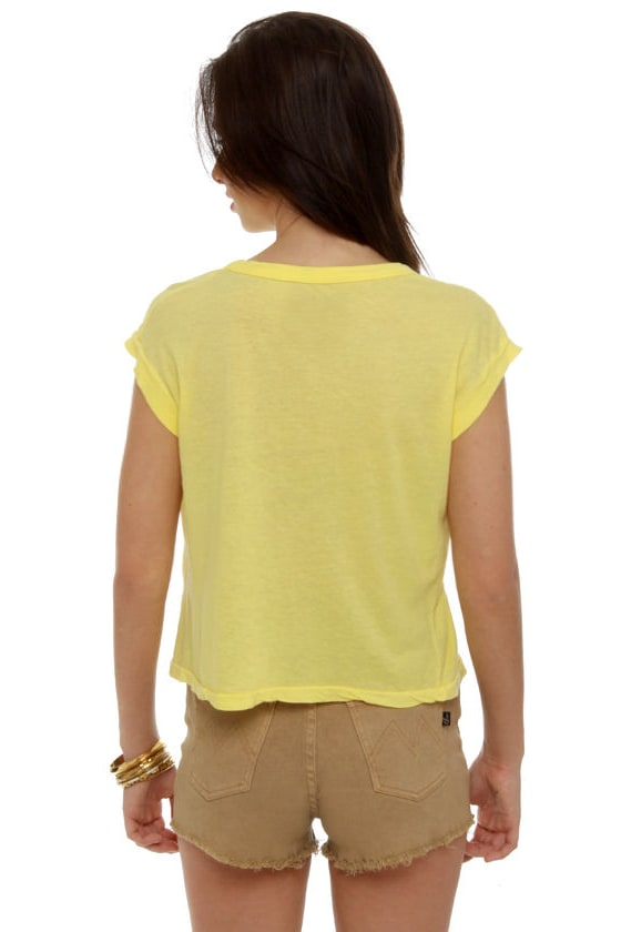 Chaser Blondie Rapture Yellow Crop Top