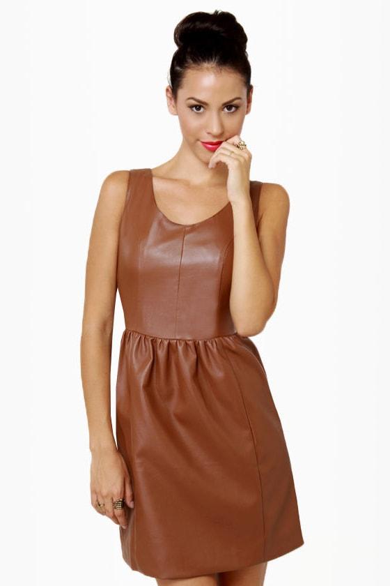 chic brown dress vegan leather dress 70 00