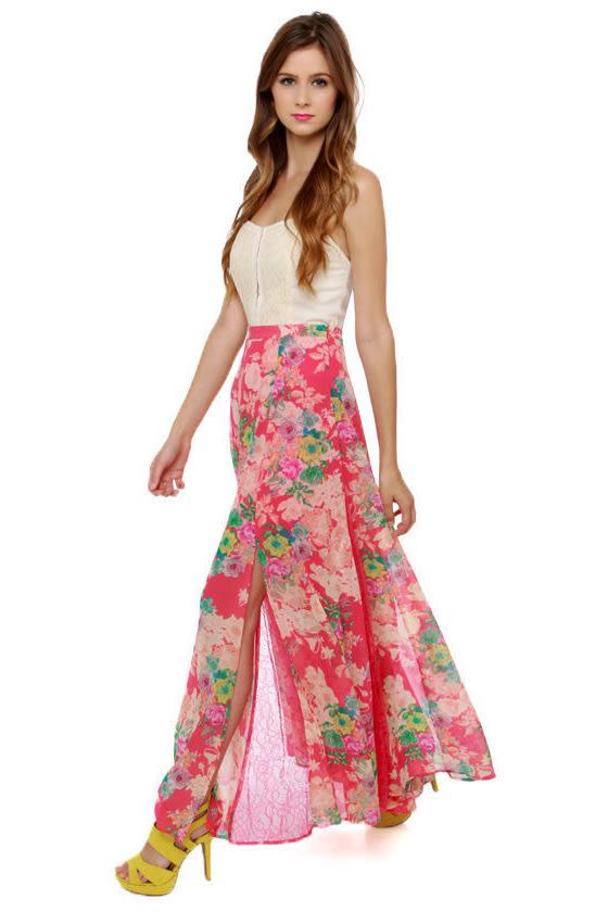 Lovely floral print skirt maxi skirt slit skirt 8900 coral pink floral print maxi skirt mightylinksfo