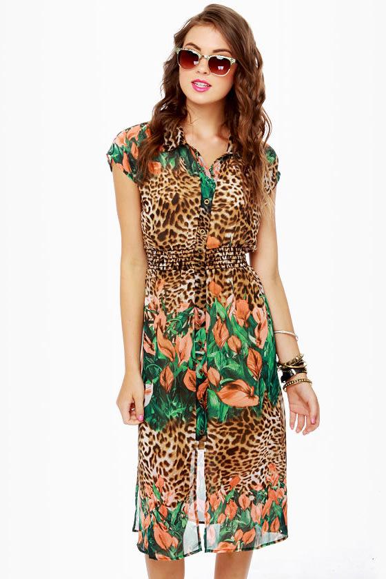 Cute Print Dress - Leopard Print Dress - Floral Dress - $45.00
