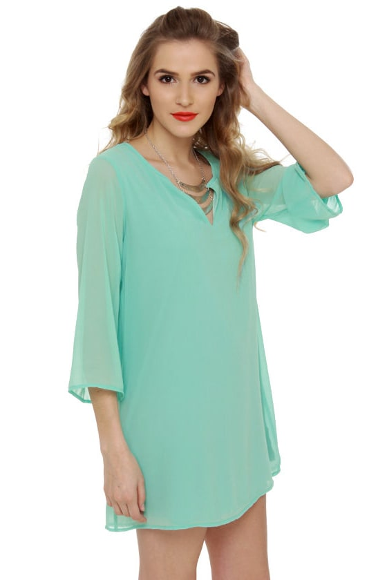 Cute Turquoise Dress - Shift Dress - Blue Dress - $38.00