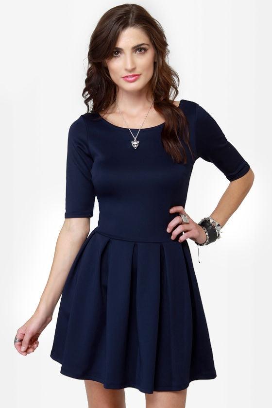 Adorable Navy Blue Dress Skater Dress Short Sleeve Dress