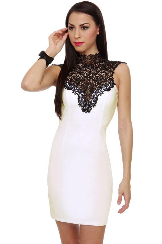 Beautiful White Dress - Lace Dress - Bodycon Dress - $46.00