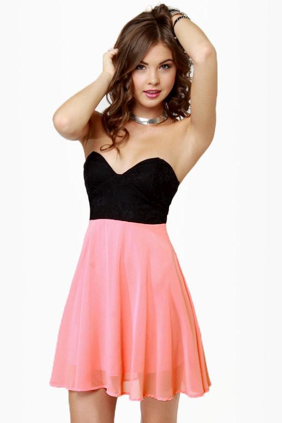 Pretty Bustier Black and Peach Dress - Color Block Dress