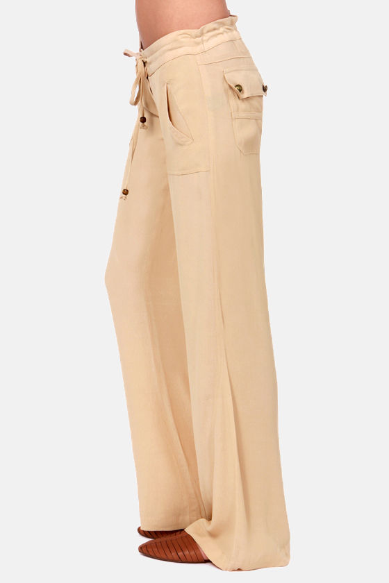 Talent Scout Beige Wide-Leg Pants at Lulus.com!