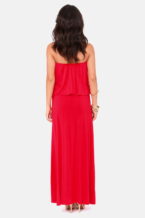 London Tall-ing Strapless Red Maxi Dress at Lulus.com!