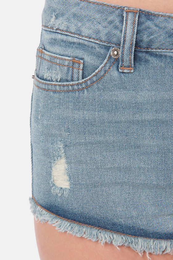 Blue Jean Baby Distressed Cutoff Jean Shorts at Lulus.com!