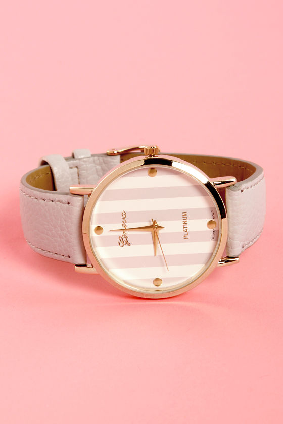 The Clock Stripes Twelve Grey Watch at Lulus.com!