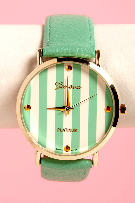 The Clock Stripes Twelve Mint Green Watch at Lulus.com!