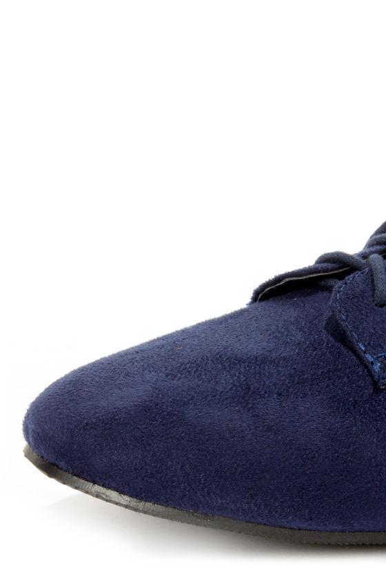 City Classified Desta Navy Blue Lace-Up Oxfords at Lulus.com!