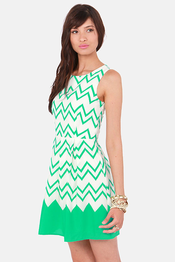 All-Star Lineup Sea Green Chevron Print Dress at Lulus.com!