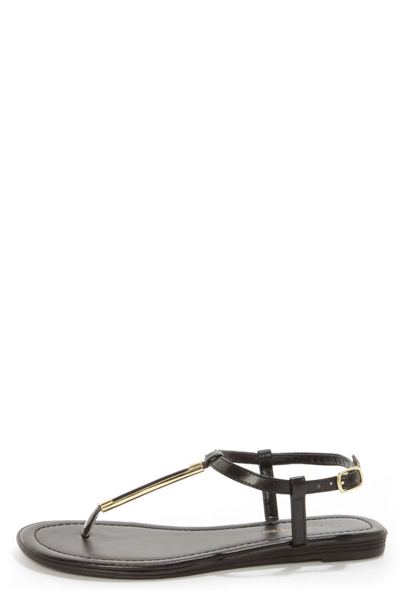 City Classified Born Black and Gold Thong Sandals at Lulus.com!