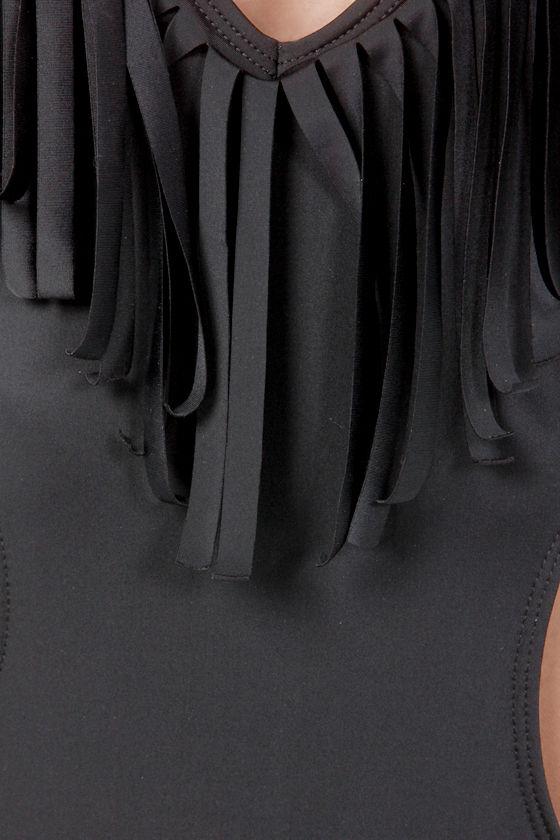Lira Malibu Black Fringe Monokini at Lulus.com!