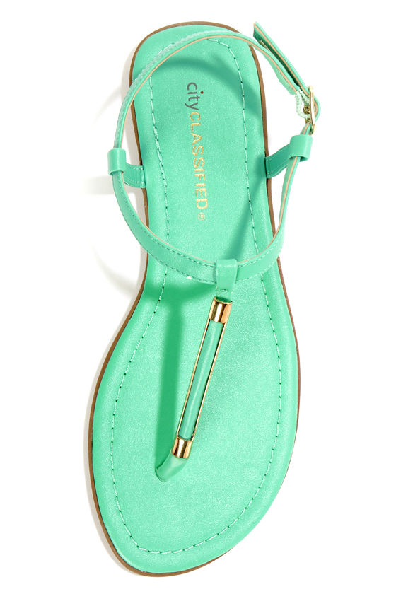 City Classified Born Aqua and Gold Thong Sandals at Lulus.com!