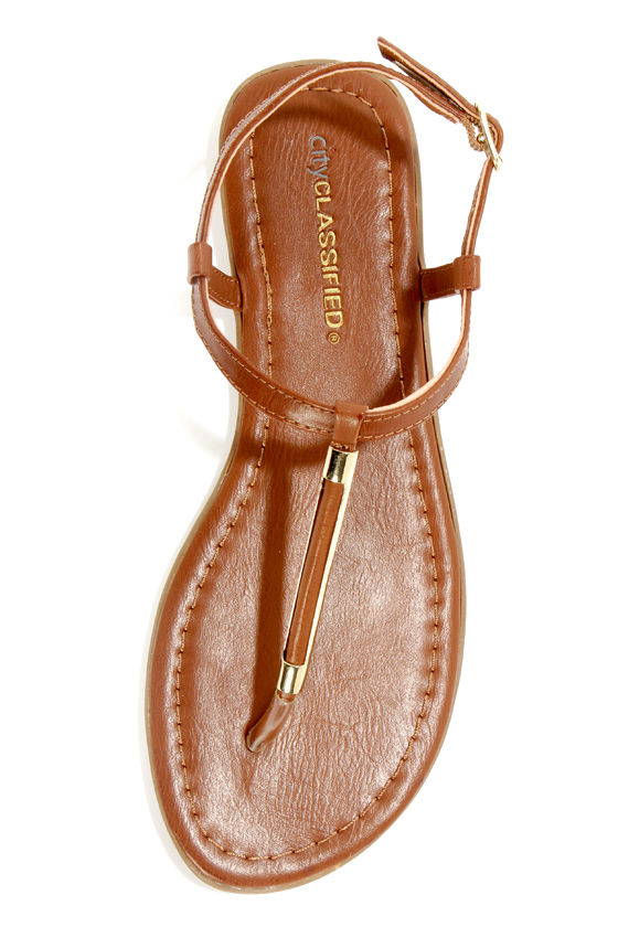 City Classified Born Dark Tan and Gold Thong Sandals at Lulus.com!