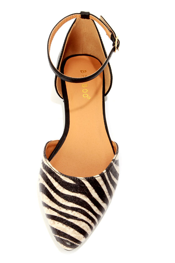 Bamboo Object 12 Zebra Print D'Orsay Pointed Flats at Lulus.com!