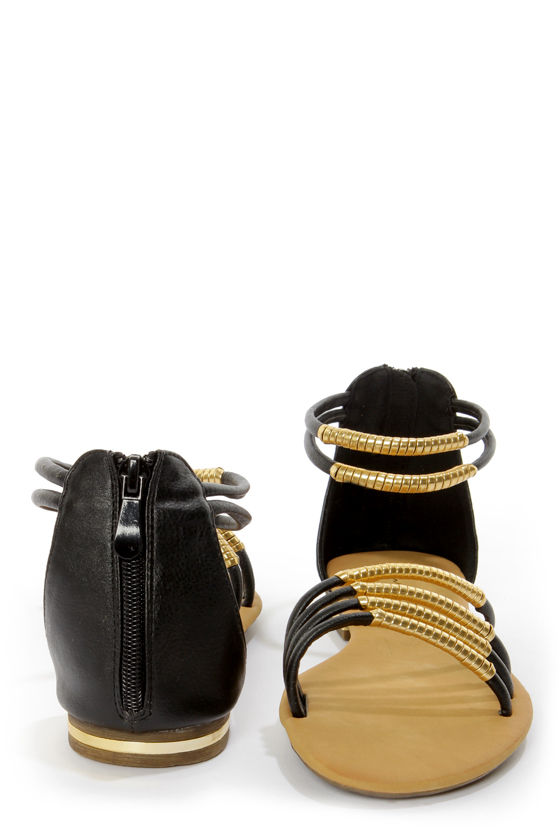Bonzo 3 Black and Gold Wrapped Strappy Gladiator Sandals at Lulus.com!