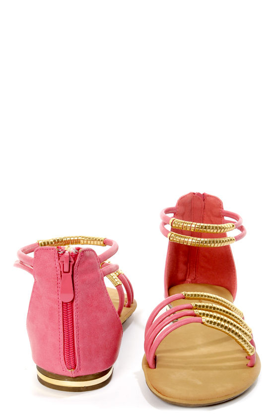Bonzo 3 Pink and Gold Wrapped Strappy Gladiator Sandals at Lulus.com!