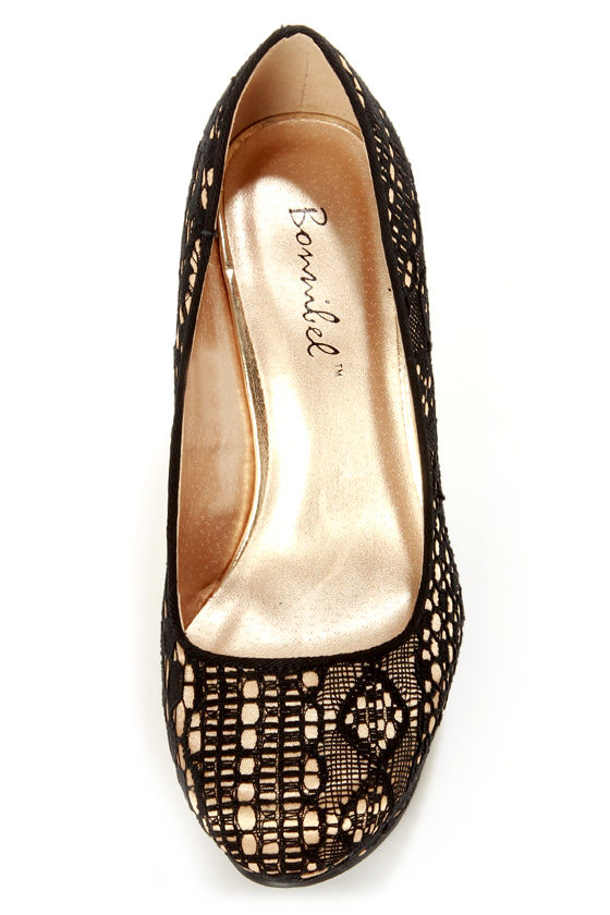 Ailey 2 Black Lace Platform Wedges at Lulus.com!