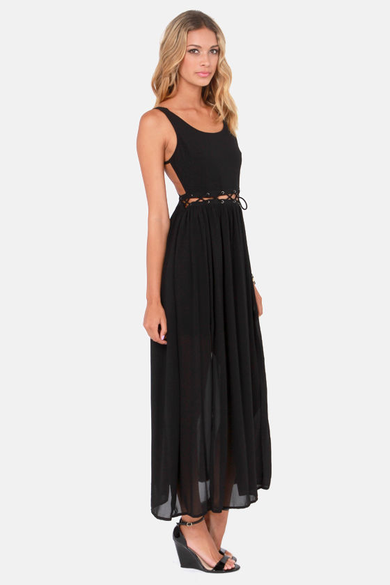 Stitch-y Woman Black Maxi Dress at Lulus.com!