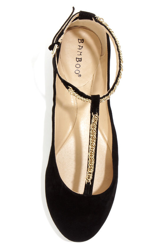 Bamboo Zelous 01 Black Chain T-Strap Ballet Flats at Lulus.com!